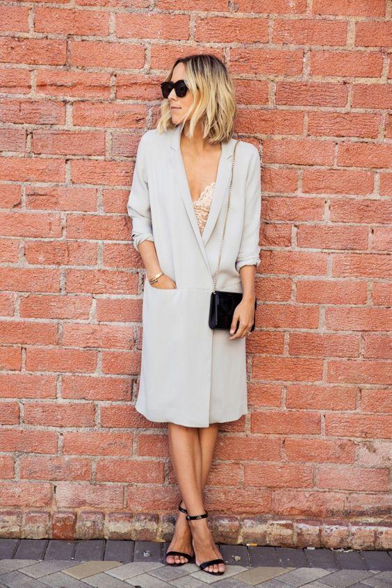 vit blazer klänning äggskal