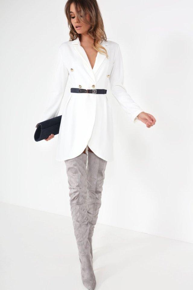vit kavajklänning lårhög grå