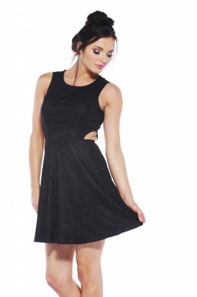 svarta skater klänning mini utskärningar
