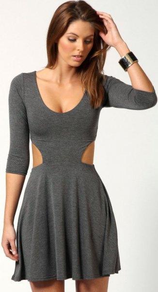 grå skaterklänning i bomull med trekvartärmar