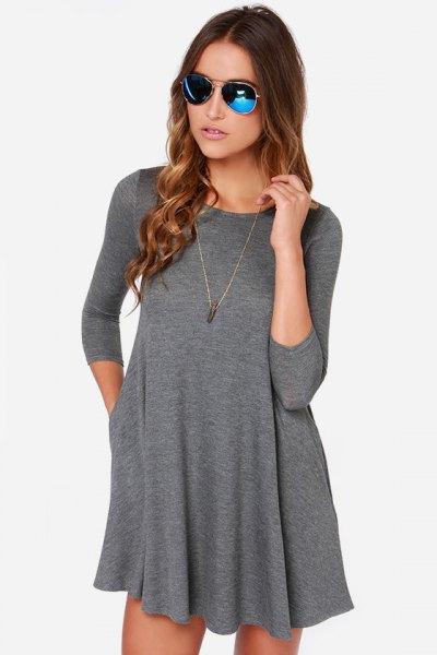 grå babydoll t-shirt klänning
