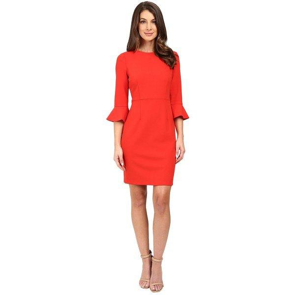 röd skiftklänning med tre fjärdedel klockärmar