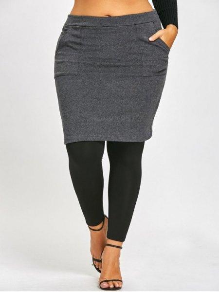 grå och svart kjol leggings och beskuren långärmad T-shirt