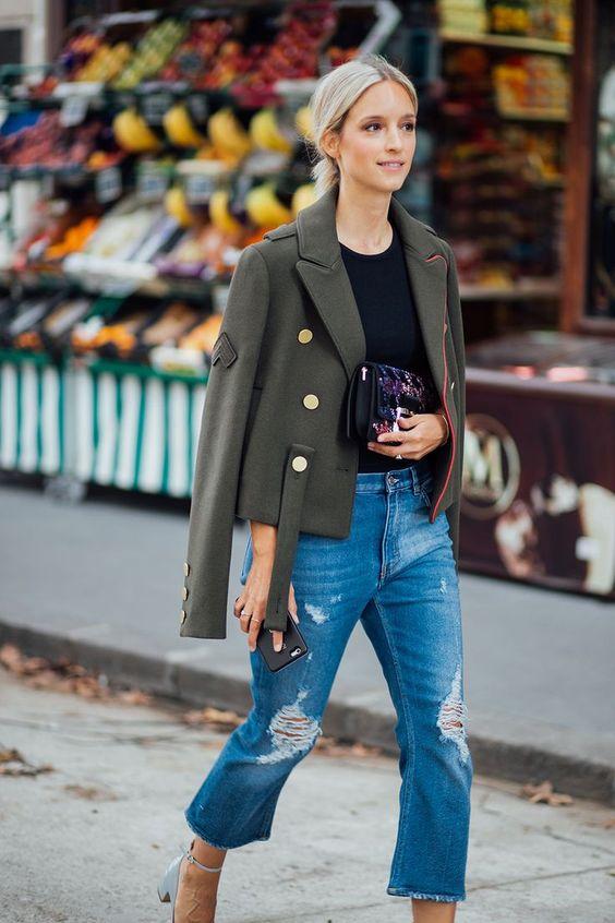 Militärjacka mamma jeans