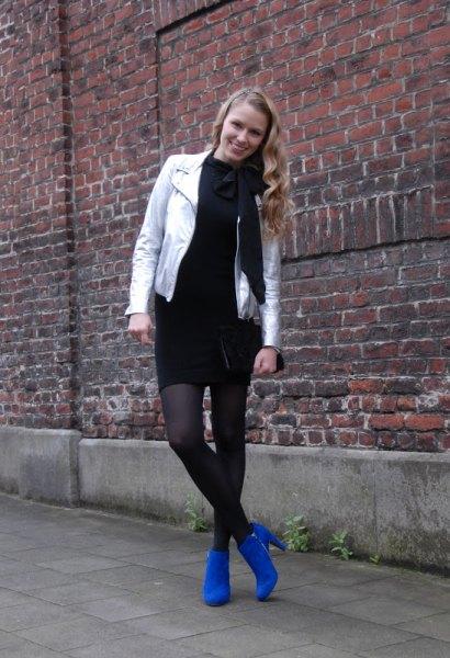 svart tröja klänning kungsblå ankel stövlar