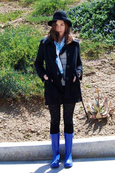 blå regn stövlar ull kappa leggings