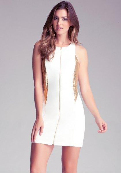 Bodycon-klänning med blixtlås i vitt och guld