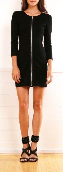 svart trekvart ärm klänning remmar sandaler