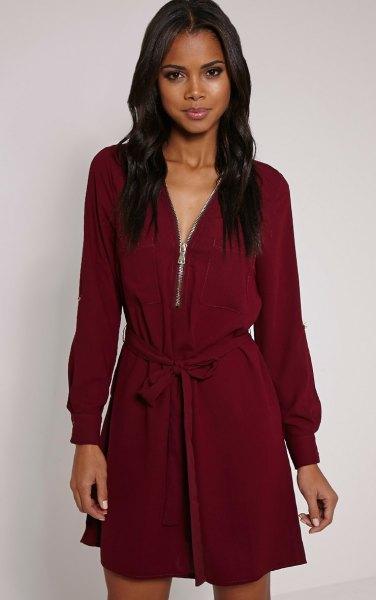Bourgogne långärmad skiftklänning med bälte