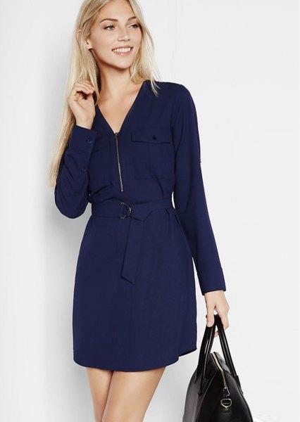 Mörkblå skiftklänning med dragkedja och dragkedja
