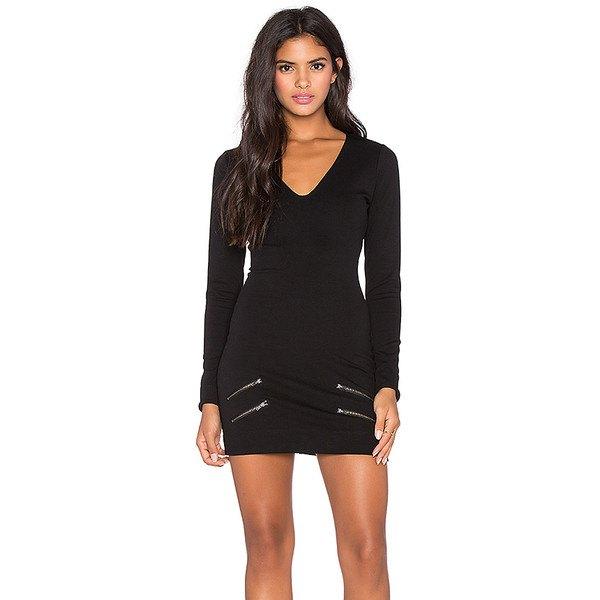 svart figurkramande miniklänning med V-ringning