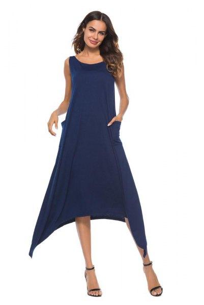 Mörkblå ärmlös midi-svängklänning med öppna tår