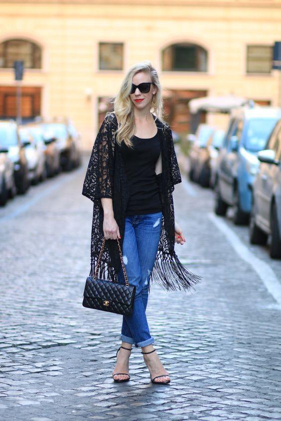 svarta kimono skinny jeans gjorda av spets