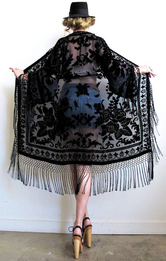 svarta kimono jean shorts av spets