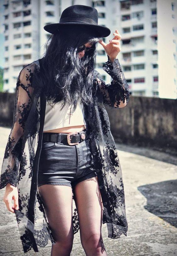 svart spets kimono grunge