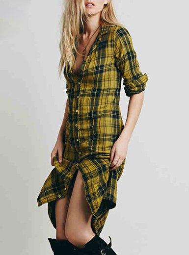 Slim fit midi längd gul rutig skjorta klänning med långa stövlar