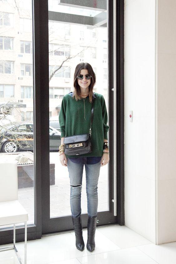 medium kalv boot grön tröja