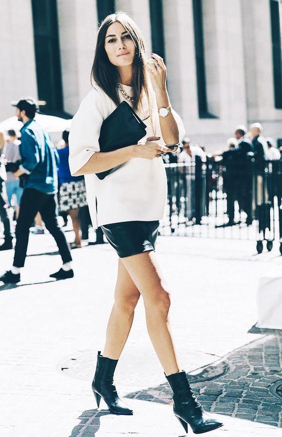 kjol med läderkänga i mellankalv