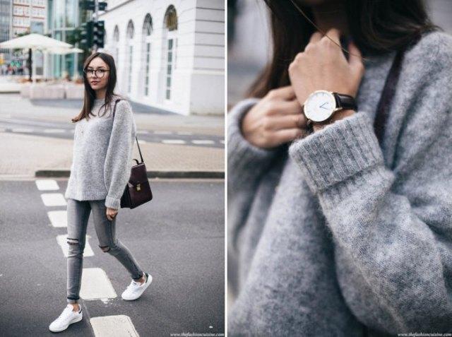 Fuzzy stickad tröja med grå skinny jeans