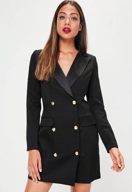 svart smokingjacka klänning militära knappar