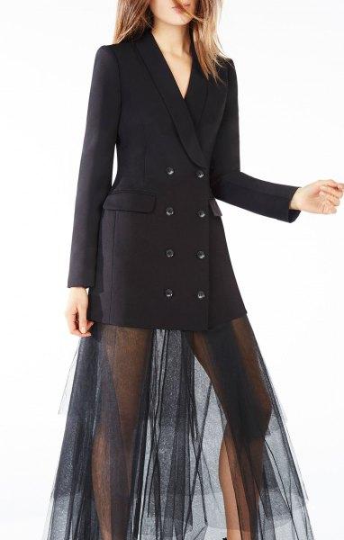 svart smokingjacka klänning mesh överdel