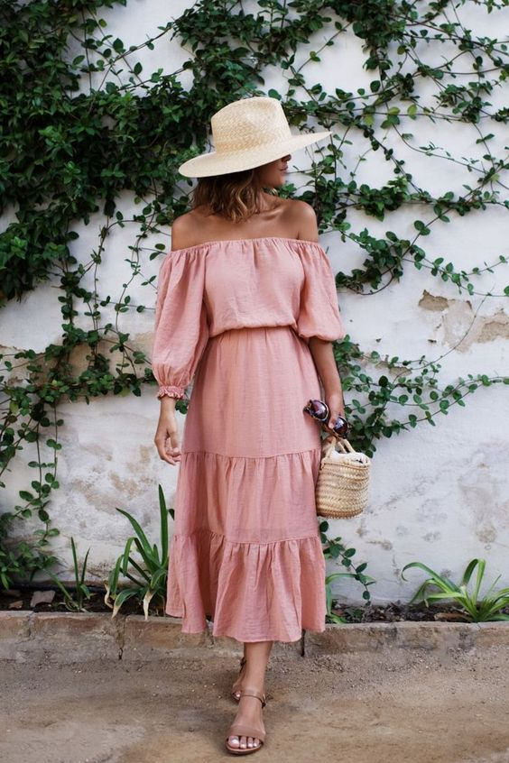 rosa sundress ruffles off the shoulder