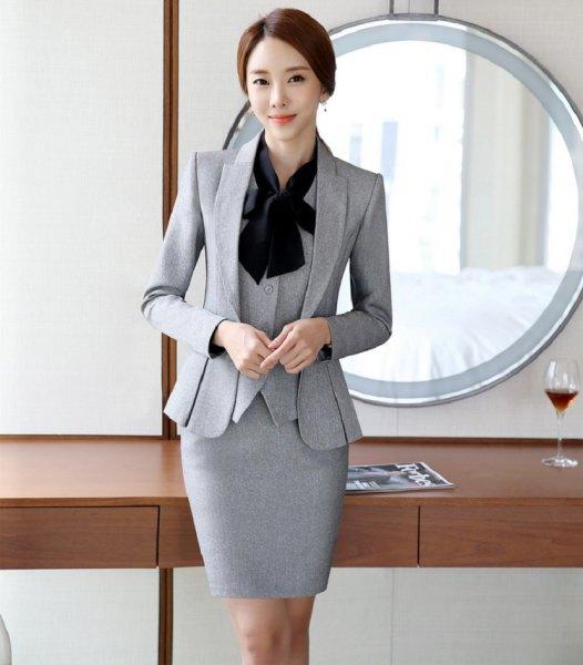 grå kjol 3-delad slim fit kostym med svart rosett