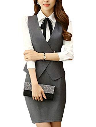 vit skjorta med knappar, grå, smalväst och figurkramande minikjol