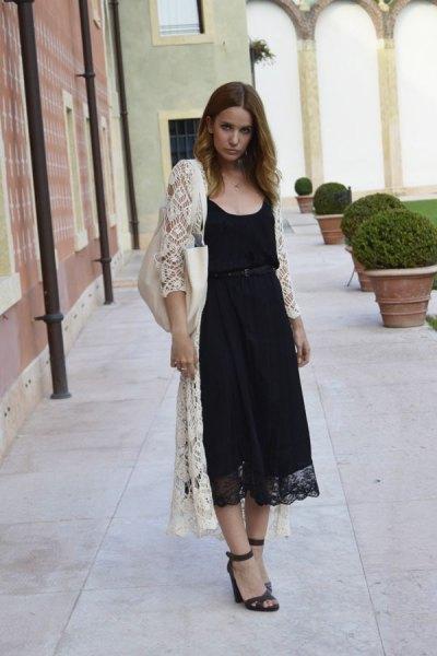 Maxi vit kofta svart midi spets klänning