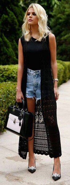 långa svarta virkade cardigan jean shorts