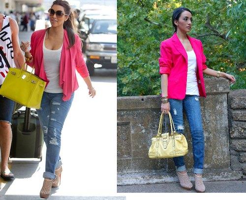 rosa kavaj med vit linne med scoop-urringning och rippade jeans
