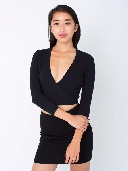 svart crop top bodycon kjol tvådelad uppsättning