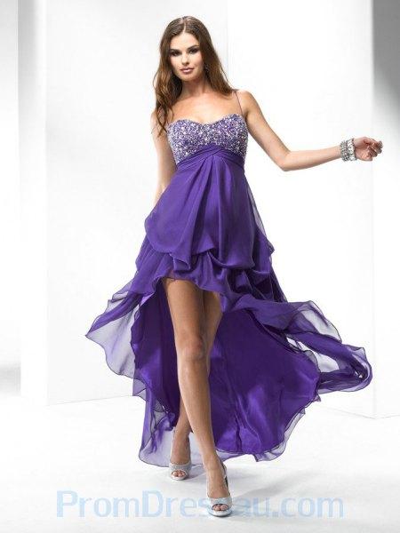 lila och silver paljett spaghetti remmar hög låg lång fläckad klänning
