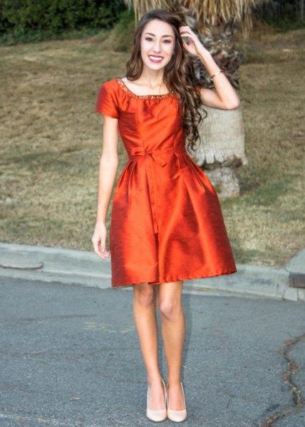 Orange silke skater klänning silver paljett halsringning