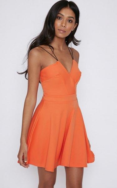 orange älskling skater miniklänning