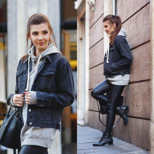 Tunikhuvtröja med mörkgrå jeansjacka och läderjackor