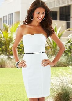 vit, figur-kramar rörklänning med bälte
