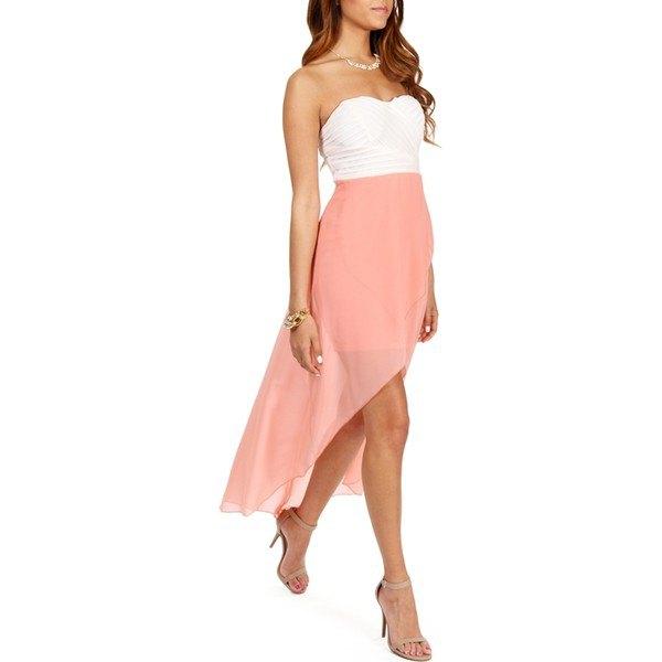 vit och rodnande rosa tvåfärgad axelbandslös maxiklänning