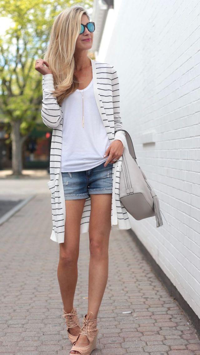randig cardigan tröja jeansshorts