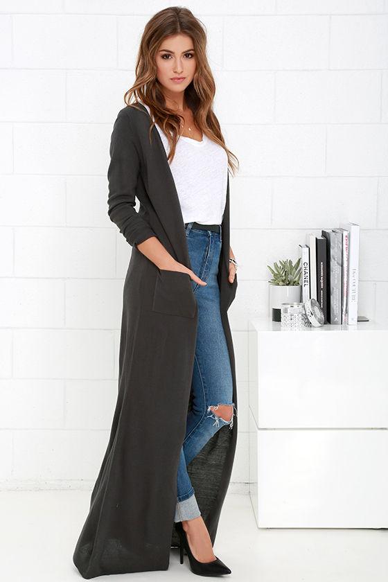 mörkgrå maxi lång kofta tröja
