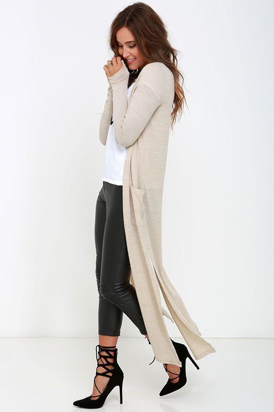 Lederhose Tan Long Cardigan-tröja