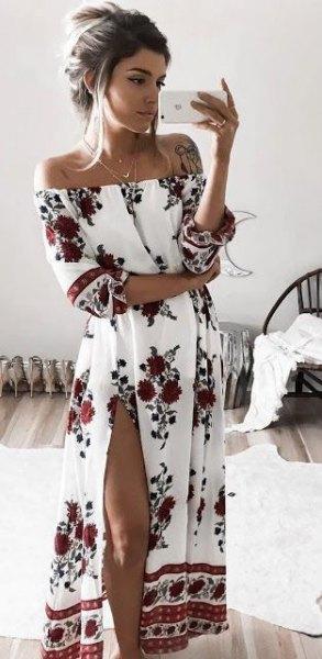 vit av axeln blommigtryckt hög split lång klänning