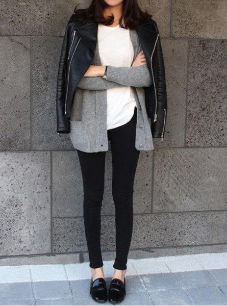 grå kofta leggings tofflor