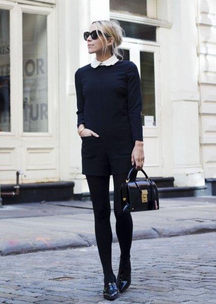 svarta stickade tröja shorts leggings tofflor