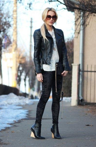 svart blazer i läder med vit sammet