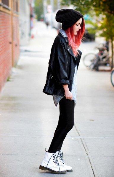 leggings i svart läderjacka