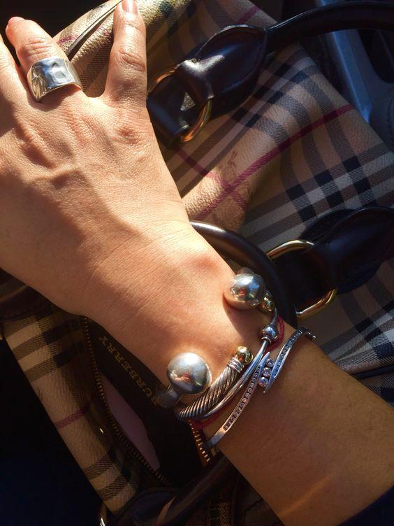 silver manschett armband bollar