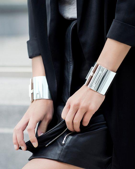 silver manschett armband läder