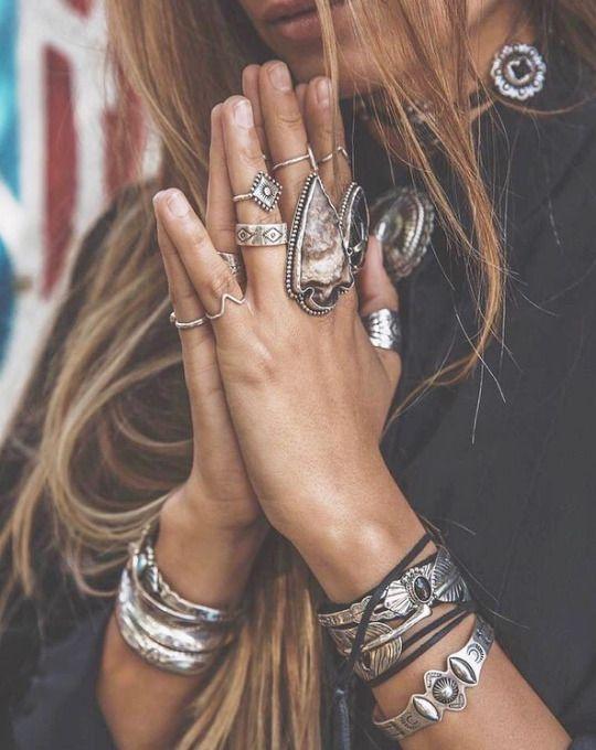 armband i silver manschett Boho