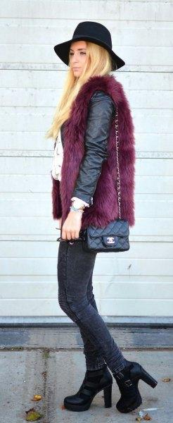 svart matt läderjacka med fuskpälsväst